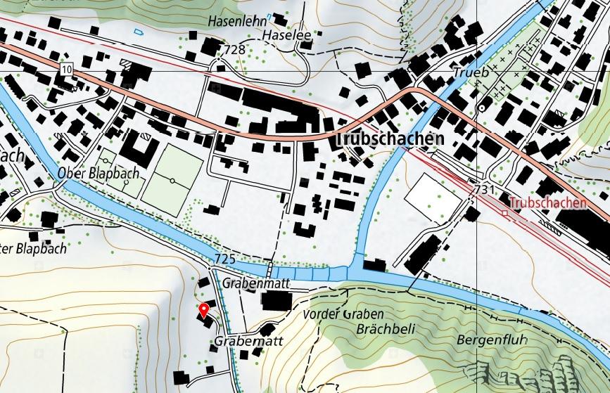 Standort Geschäftsräumlichkeiten - mit Klick aufs Bild wechseln Sie zu Google Maps © Karte: Swisstopo